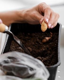 Vista lateral de uma mulher plantando sementes em um vaso com solo