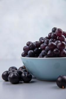 Vista lateral de uvas frescas pretas em uma tigela azul sobre um fundo cinza