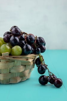 Vista lateral de uvas na cesta na superfície azul e fundo branco