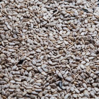 Vista lateral descascada textura de sementes