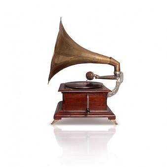 Vista lateral do antigo de gramofone