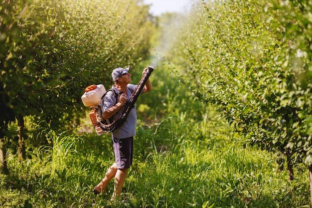 Vista lateral do camponês maduro caucasiano em roupas de trabalho, chapéu e com a moderna máquina de pulverização de pesticidas nas costas pulverizando insetos no pomar.
