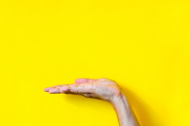 Vista lateral do gesto de mão palma da mão aberta vazia da mão masculina em fundo amarelo