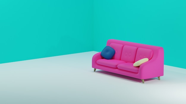 Vista lateral do sofá simples rosa com fundo azul em design 3d