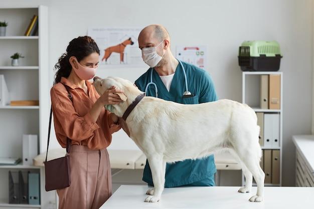 Vista lateral em um cachorro branco em pé na mesa de exame na clínica veterinária com uma jovem médica acariciando-o, copie o espaço