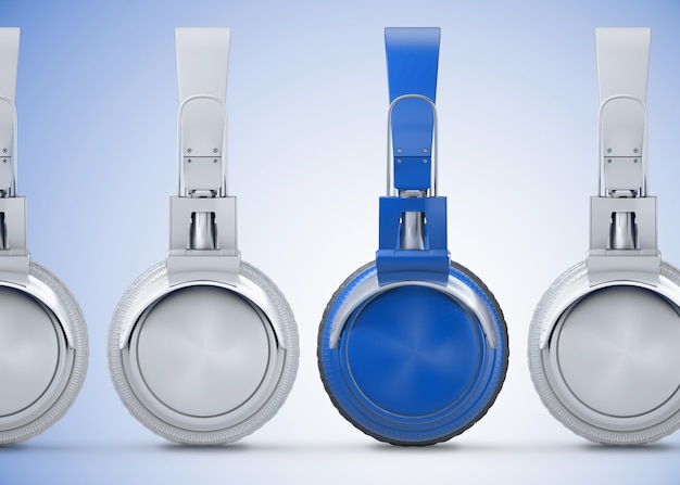 Vista lateral para fones de ouvido azuis e brancos