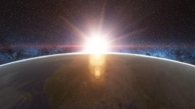 Vista linda do nascer do sol do espaço no planeta terra