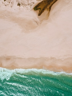 Vista, mar, ondas, arenoso, praia