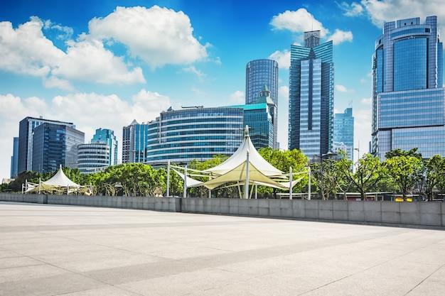 Vista, modernos, cidade, asiático, cena
