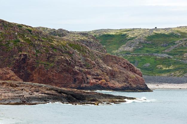 Vista na costa rochosa do mar de barents