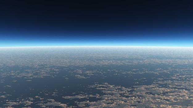 Vista no papel de parede da nuvem na paisagem e na cena do espaço.