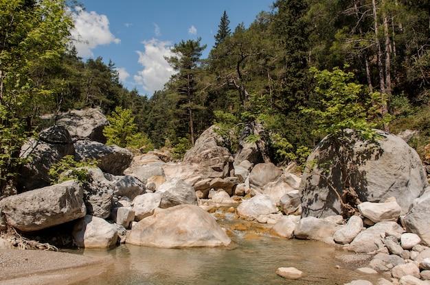 Vista no rio pequeno no desfiladeiro de goynuk