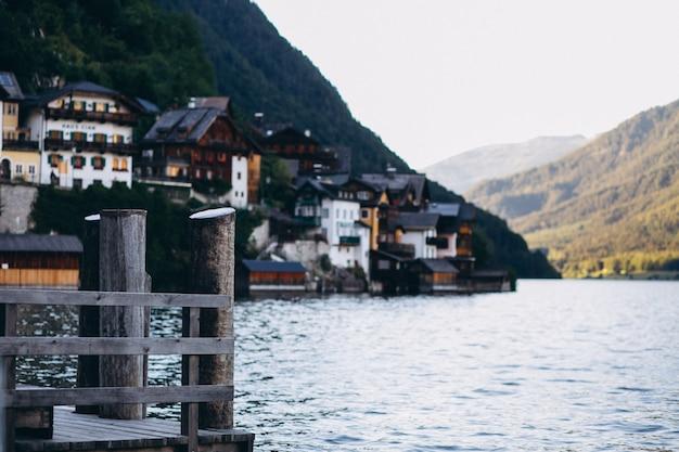 Vista panoramic, de, lago, e, montanhas
