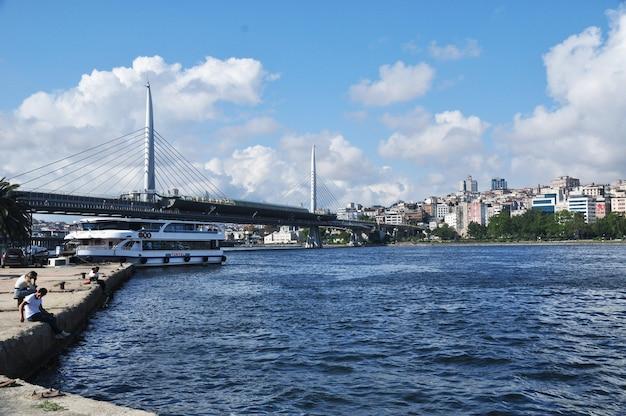 Vista panorâmica da baía do chifre de ouro. istambul, turquia, 10 de julho de 2021