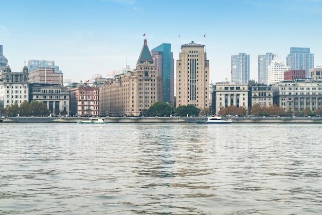 Vista panorâmica da cidade de bund no distrito de huangpu, shanghai