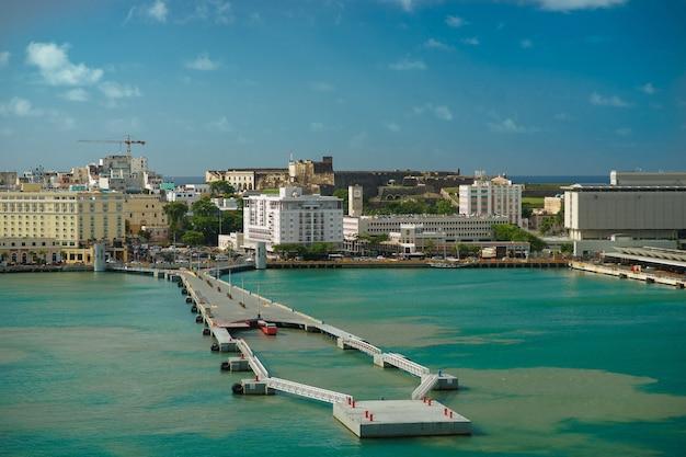 Vista panorâmica da colorida cidade histórica de porto rico à distância com o forte em primeiro plano san juan