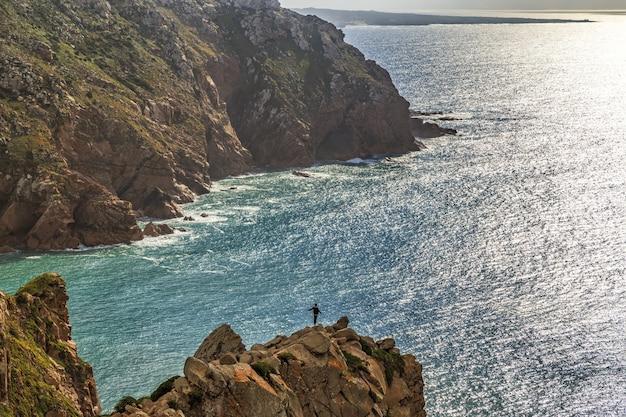 Vista panorâmica da costa no cabo da roca, portugal