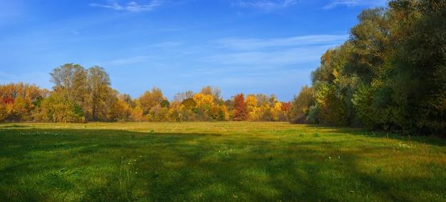 Vista panorâmica da floresta de outono e prados.
