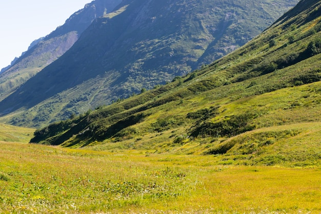 Vista panorâmica da montanha, bela paisagem em um dia ensolarado com grama verde nos prados