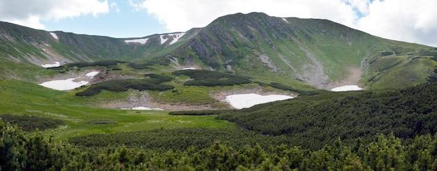 Vista panorâmica da montanha com floresta de zimbro e neve permanece no cume à distância.