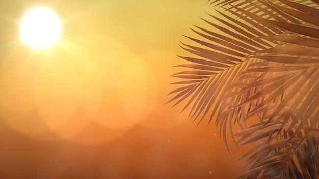 Vista panorâmica da paisagem tropical com palmeiras e pôr do sol, fundo de verão. ilustração 3d elegante e luxuosa dos anos 80 e 90 em estilo retro