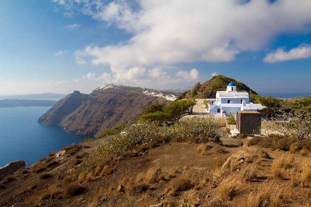 Vista panorâmica da vila de oia na ilha de santorini