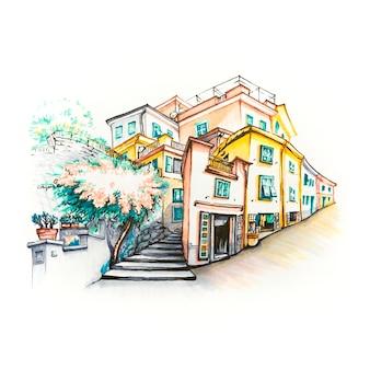 Vista panorâmica de casas coloridas na vila de pescadores de manarola em cinco terras, parque nacional de cinque terre, ligúria, itália. marcadores feitos de imagem