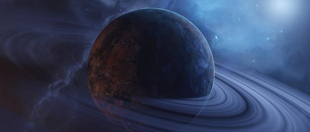 Vista panorâmica de planetas, renderização em 3d.