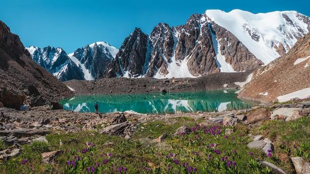Vista panorâmica de um belo lago de montanha azul. cenário brilhante com belo lago turquesa. lago transparente incomum no verão.