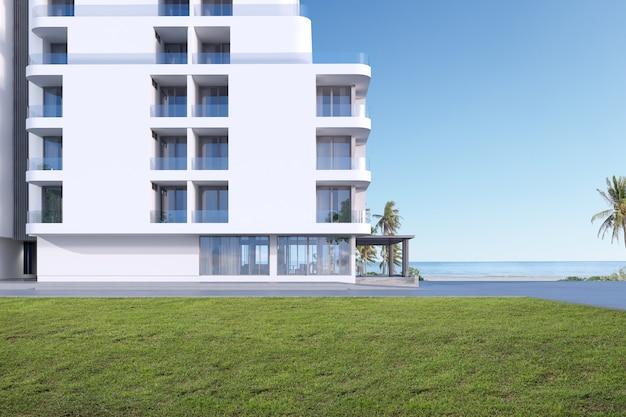 Vista panorâmica de um edifício residencial moderno, apartamento de luxo em vista para o mar, renderização em 3d.
