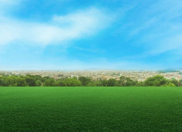 Vista panorâmica de um prado vazio contra a paisagem urbana