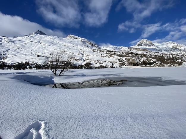 Vista panorâmica de uma paisagem de neve com um pequeno lago