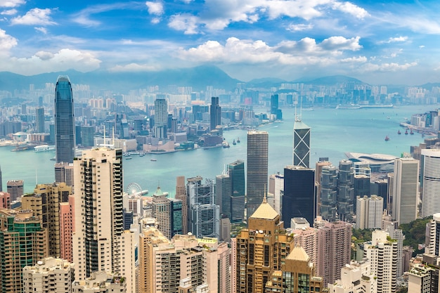 Vista panorâmica do distrito comercial de hong kong, china