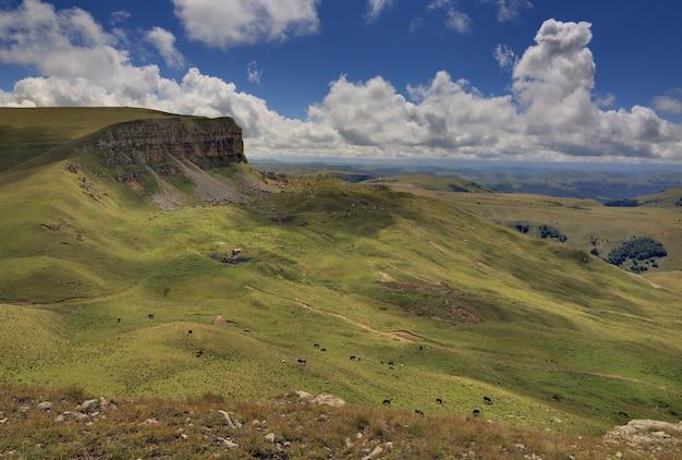 Vista panorâmica do planalto da montanha nas nuvens no verão, norte do cáucaso, na rússia.