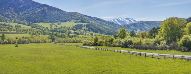Vista panorâmica do vale da montanha na primavera. campo e estrada rural.