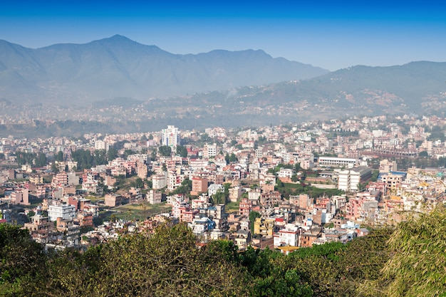 Vista panorâmica para a cidade de kathmandu