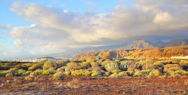Vista panorâmica pitoresca de tenerife ao pôr do sol com a cidade de las américas ao fundo, ilhas canárias