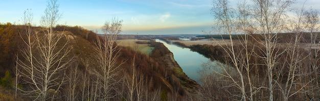 Vista panorâmica sobre o vale do rio don. foto tirada no outono na rússia.