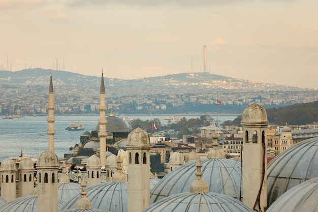 Vista para o corno de ouro e a cúpula da mesquita, istambul, turquia