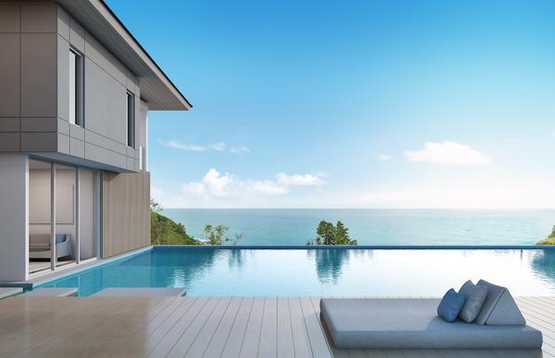 Vista para o mar casa com piscina em design moderno.