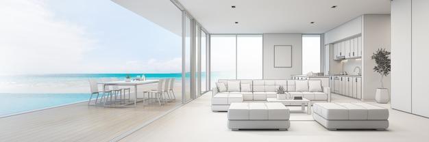 Vista para o mar cozinha, sala de jantar e sala de estar da casa de praia de luxo