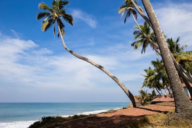 Vista para o mar em dia ensolarado. parte da praia de odayam, varkala, índia