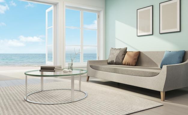 Vista para o mar sala de estar em casa de praia - renderização em 3d