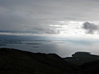 Vista sobre a islândia, reykjavik, nuvens