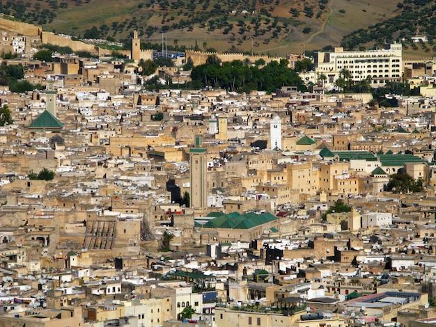 Vista sobre a medina de fez, marrocos