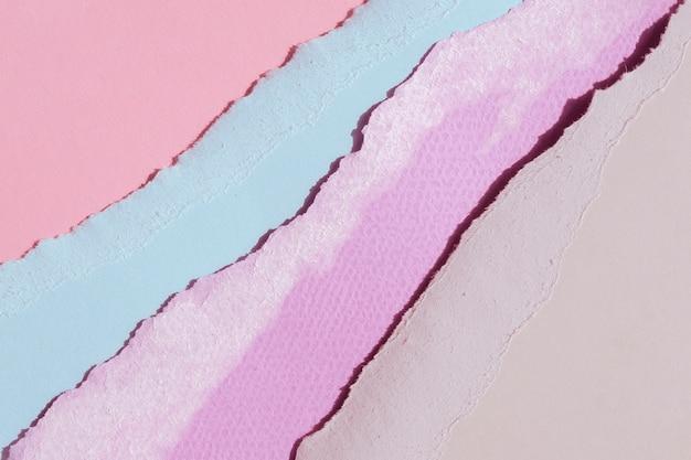 Vista superior abstrata bordas de papel rasgado