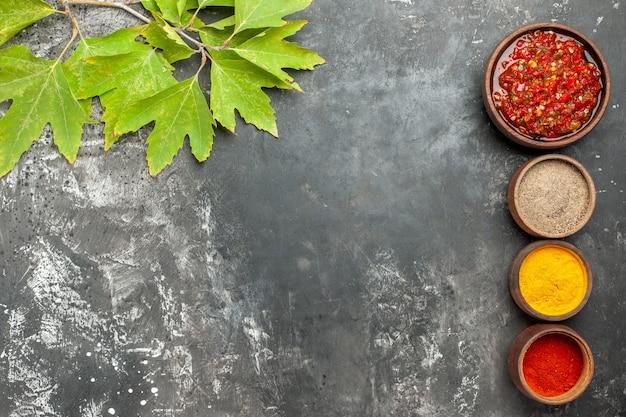 Vista superior adjika em tigela de madeira adjika de especiarias diferentes em pequenas tigelas em fundo cinza