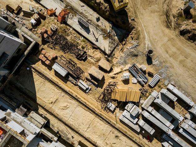 Vista superior aérea, construção de projeto trabalho conceito plana leigos f