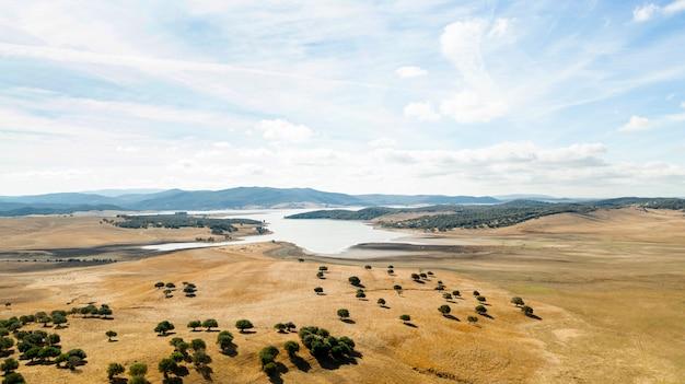 Vista superior aérea da bela paisagem