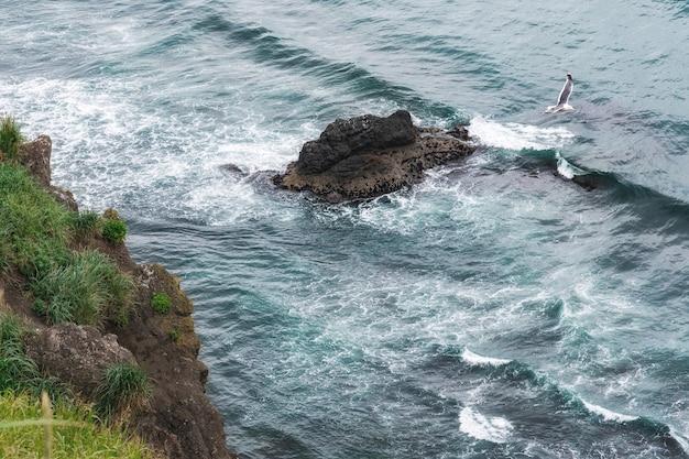 Vista superior aérea das ondas do mar batendo pedras na praia